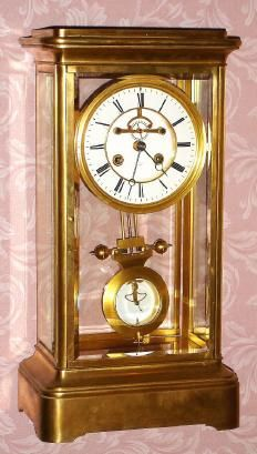 C.1900, French, for Tiffany and Co., Giant Brass and Glass mantel regulator. Both the movement and dial are signed Tiffany and Co.