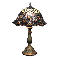 (EU Lager)D30cm Tiffany Tischleuchte Pfauenfeder Design 1-flammig im Schlafzimmer