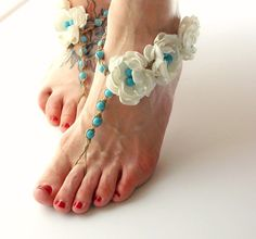 Bridal Barefoot Sandals Turquoise Blue Color Ivory Roses Color Pearls Barefoot Wedding Shoes Hemp Barefoot Sandals Beach Weddings