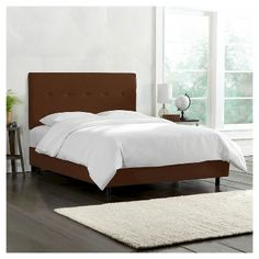 Five Button Bed - Linen Chocolate - Twin - Skyline Furniture