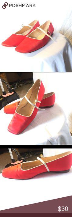 Super Cute Kate Spade Mary Janes size 8 Red and white satin Kate spade Mary Jane flats.  Some signs of wear in good condition.  Leather lining, heels, and soles. Made in Italy kate spade Shoes Flats & Loafers