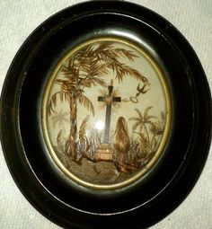 OLD FRAME WORK FINE HAIR RELIQUARY