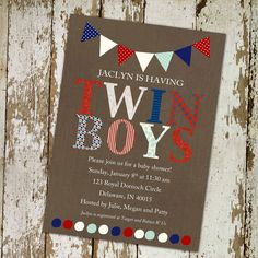 twins baby shower invitation red white and blue with banner, DIY Printable (item 152). $13.00, via Etsy.
