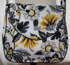 Evey Messenger Bag - Grey and Yellow Bloom. $79.00, via Etsy.