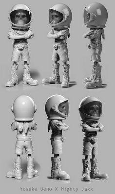 Yosuke Ueno x Mighty Jaxx - 'Negative Never Again' Skull Astronaut art toy 360° turnaround