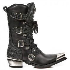M.7993P-C10 New Rock Black Patterned Leather Cowboy Boots - Cowboy Boots - Mens - New Rock Boots & Shoes
