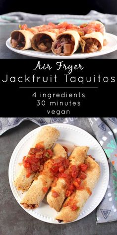 These Air Fryer Jackfruit Taquitos from The Vegan Air Fryer only have four ingredients and take about half an hour to make. You can make the filling on the stove or in the pressure cooker. Vegan Mexican Recipes, Vegan Dinner Recipes, Dairy Free Recipes, Vegan Recipes Easy, Whole Food Recipes, Vegetarian Recipes, Air Fryer Recipes Vegan, Kid Recipes, Snacks Recipes