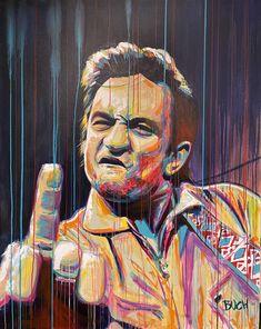 Johnny Cash med fuck fingerfarverig portræt maleri Malerierne - Allan Buch Malerier