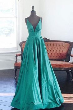 Turquoise V-neck A-line simple long prom dresses for teens with straps,evening dresses