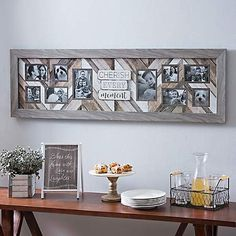 Display your most cherished memories with our Cherish Every Moment Collage Frame. Rustic finishes meet modern chevron in this charming statement piece. Collage Picture Frames, Wall Collage, Thing 1, Modern Farmhouse Decor, Farmhouse Chic, Farmhouse Design, Living Room Remodel, Kitchen Wall Art, Picture On Wood