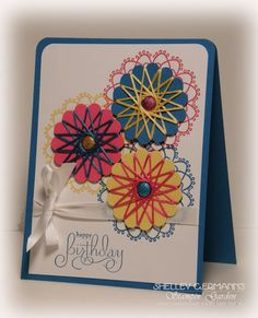 """Stampin' Up!  Delicate Doilies along with the sentiment from Well Scripted.  A great technique called """"spirelli."""""""