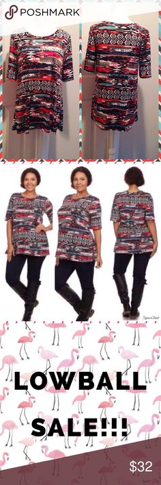 LAST ONE! Aztec Print Top Size: 1X. Fall in love with this tribal top! It features elbow length sleeves, a lovely tribal pattern and soft stretchy material which fits true to size. It is 96% Polyester and 4% Spandex. NWT. Tops