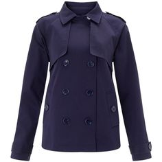 John Lewis June Short Trench Coat , Navy (9.485 RUB) ❤ liked on Polyvore featuring outerwear, coats, navy, john lewis, a line coat, navy coat, navy trench coat and long sleeve coat