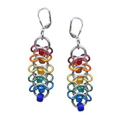 Rainbow Earrings Dangle Style with Colorful Rings and by Lehane
