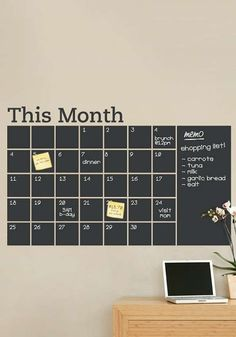 Make a plan for the new month on a creative blackboard wall calendar.