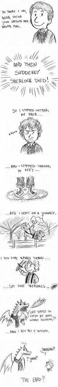 John Watson aka Bilbo, and Sherlock reincarnated as Smaug. It makes such perfect sense! : D