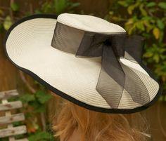 Wide Brim Cream & Black Straw Kentucky Derby Hat by Award Design Etsy shop