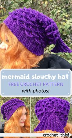 Looking for a quick but magical crocheted gift idea? This mermaid slouchy hat is the perfect DIY project for any mermaid lover! The pattern is easy, free, and works up fast. It also has lots of photos to guide you! What a great gift idea for the holidays, Crochet Slouchy Hat, Slouch Hats, Crocheted Hats, How To Crochet A Scarf, Crocheted Headbands, Easy Crochet Hat, Crochet Winter, Slouchy Beanie, Crocodile Stitch