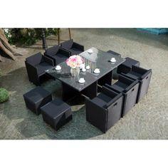 Concept Usine - Miami 10 Noir/Noir : Ensemble 10 personnes en résine tressée noire poly rotin - pas cher Achat / Vente Ensembles tables et chaises - RueDuCommerce