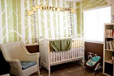 Lime Green and Brown Gender Neutral Nursery with Tree Wall Painting Technique: The design of Harper's Simple but Timeless Gender Neutral Nursery was a dream of ours even before we knew that we were having a girl, we knew that we were