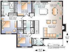 Plan de Rez-de-chaussée Modèle de bungalow avec 3 chambres, cuisine avec grand îlot centrale, salle familiale avec fo - Bradley 3