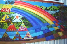 Right hand panel, Otari School Mural.  Designed and painted by Ellen with pupil painted triangles attached. Otari School, Wilton, Wellington.