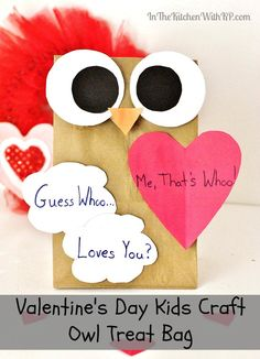 Month: February Grade: Description: Homemade Owl Gift Bag Kid Craft for Valentine's Day - In The Kitchen With KP Valentine's Day Crafts For Kids, Valentine Crafts For Kids, Daycare Crafts, Valentines Day Activities, Holiday Activities, Preschool Crafts, Art For Kids, Creative Activities, Craft Activities For Kids