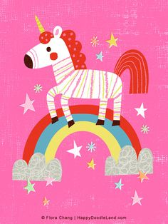 Unicorn  12 x 16 Art Print by HappyDoodleLand on Etsy, $38.00