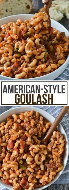 Classic American-Style Goulash More. was delish! I subbed beyond meat instead of ground beef, to make it a little healthier. I also used low sodium tomato products. Spicy Recipes, Cooking Recipes, Healthy Recipes, Easy Recipes, Noodle Recipes, Fodmap Recipes, Chicken Recipes, Hamburger Recipes, Ground Beef Recipes