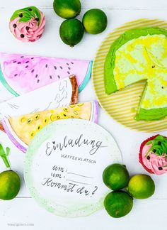 DIY Aquarell Einladungskarten: Limette, Kokosnuss, Wassermelone und Maracuja, Limetten Törtchen, waseigenes.com Cookies, Tableware, Desserts, Diy, Food, Watermelon Cupcakes, Baking Cupcakes, Exotic Fruit, Cookie Box