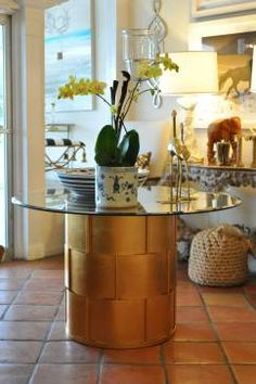 Wick Gold Leafed Metal Dining Table - Mecox Gardens