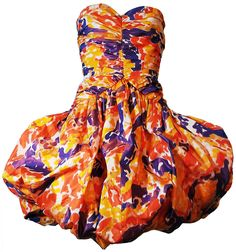 Bill Blass - Robe Bustier 'Ballon' - Orange et Violet - Années 80