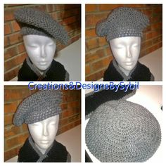 Crochet Gray beret and black and gray scarf. Check out my page on Facebook Creations&DesignsBySybil
