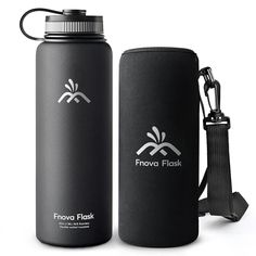 40 oz Stainless Steel Water Bottle, Fnova Flask Insulated Double Walled Vacuum Thermos, Wide Mouth bouns Protective Pouch Carry Cover, BPA Free, Cold 24 Hrs Hot 12