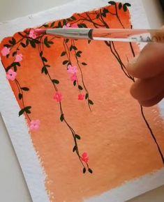 Watercolor Paintings For Beginners, Watercolor Art Lessons, Watercolor Art Paintings, Painting Videos, Small Canvas Art, Mini Canvas Art, Art Painting Gallery, Diy Painting, Watercolor Flowers