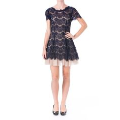 Aqua Womens Lace Overlay Padded Bust Cocktail Dress Navy 4 at Amazon Women's Clothing store: