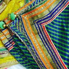 Leheriya Green and Blue Dupatta with MultiColor Zari Border