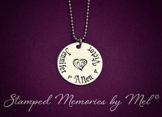 My Babies - Mommy Necklace - Hand Stamped Stainless Steel Heart - Pearl Accent - Personalized Mother, Grandma Nana Jewelry - Baby Feet Heart...