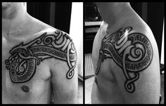 "Fantastic Mammen style, Viking era inspired, tattoo by Meatshop in Copehagen, Denmark. The Elder Futhark script translates to Danish as ""Stille hav har aldrig gjort erfaren sømand"". In English, ""Calm sea's have never made a skilful sailor""."