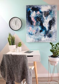 """Abstract wall art print in dark indigo and phthalo blue, blush pink, white.  Perfect piece for a moody bedroom interior or dark painted feature wall. """"Dance in the Rain"""" by Australian artist Kate Fisher."""