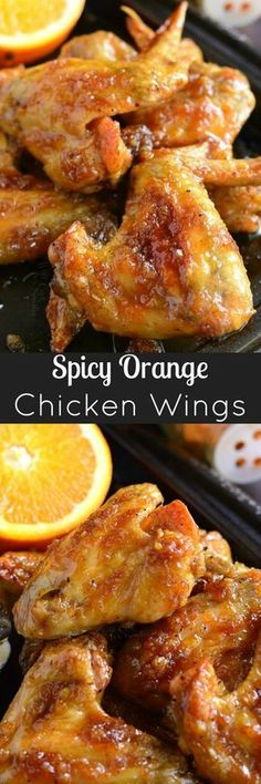 Spicy Orange Chicken Wings ~baked chicken wings slathered in an easy homemade spicy orange glaze will be a hit at any party! : willcookforsmiles
