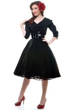 Black Secretary Circle Skirt Swing Dress - Unique Vintage - Pinup, Holiday & Prom Dresses.
