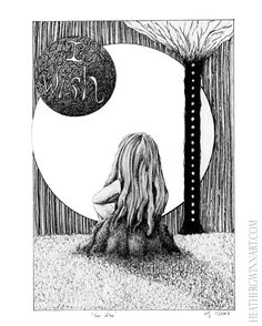 """""""For Alex"""" (2013) I drew this for my daughter, who is rapidly approaching young womanhood. My goal was to capture the irrational and perpetual longing for 'something different' that marked my adolescence so thoroughly. When I showed it to her she said """"I love it. It's so lonely.""""  Print Details:  8in x 10in Giclee Print Fine Art Enhanced Velvet 100% cotton paper  Canon Lucia ink Half inch border (paper size is 9in x 11in) Hand numbered and signed Limited run of 20 #art #drawing #penandink"""