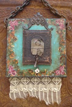 Altered ART Canvas Mixed Media Vintage Style
