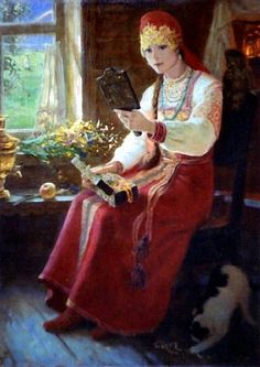 Russian costume in painting. Evgeny A. Demakov. At the Window. 1989.