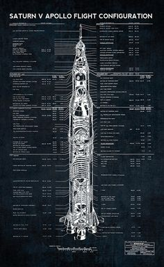 001 Saturn V Blueprints Schematic Apollo space program