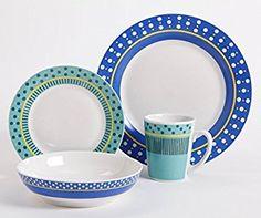 Amazon.com | Gibson 16 Piece Lockhart Dinnerware Set, Blue/White: Dinnerware Sets
