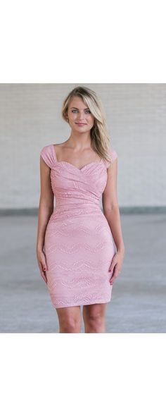 Lily Boutique Ready To Ruche Lace Sheath Dress in Pink, $38 Pink Lace Bodycon Dress, Cute Pink Cocktail Dress www.lilyboutique.com