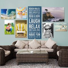 Beach Themed Gallery Wall via @greatbigcanvas available at GreatBIGCanvas.com.