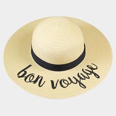 Amtal Women Elegant Wide Brim Embroidered Beach Pool Floppy Summer Vacation  Sun Hat (Bon Voyage) - Girl N Glam b6dc29a5e992